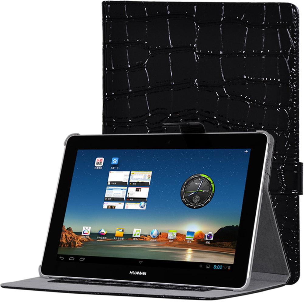 For Huawei Mediapad 10 Fhd / Mediapad 10 Link 10.1 inch Tablet Crocodile Grain Pattern PU Leather Protective Cover Case + stylus retail brand new usb host otg adapter cable for 10 1 inch huawei mediapad 10 fhd tablet pc as