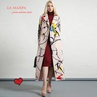 2017 La MaxPa High Quality Wool Printed Warm Winter Coat Women Turndown Collar Long Coat Overcoat