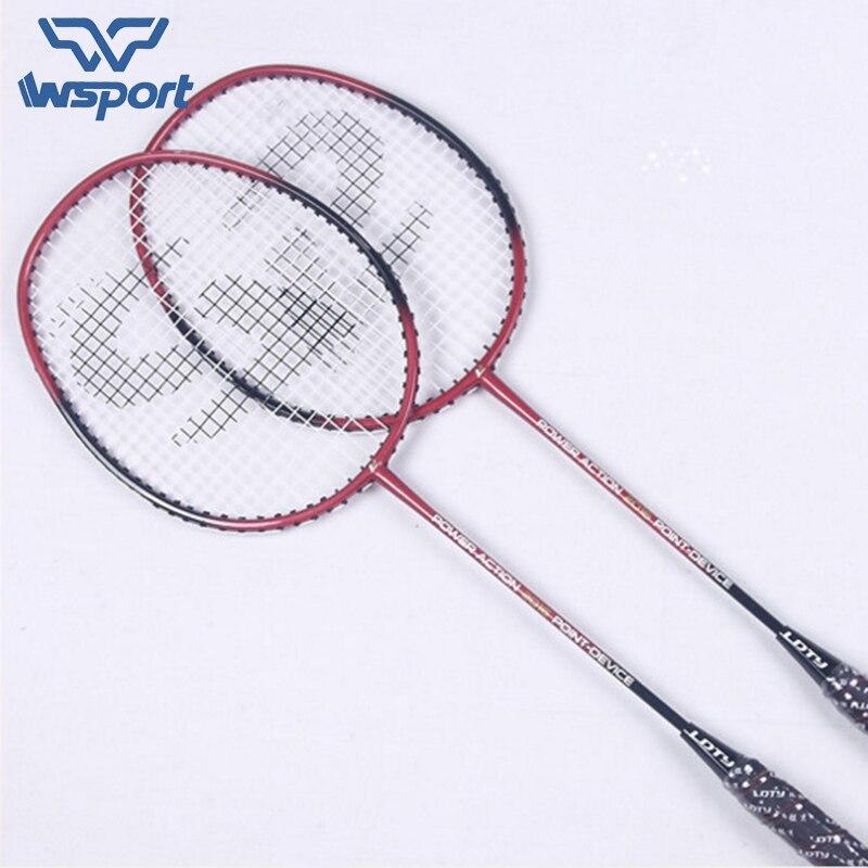 JUNRUI 1 paire Offensive et défensive Badminton Raquettes Avec Cordes De Badminton De Carbone Sport Sports De Raquette Surgrip Raquette LD2016