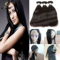 Indian Straight Hair 8A Indian virgin hair 3 Bundle Hair With The 360 Frontal Straight silky Virgin Human Hair  Bundle With Lace