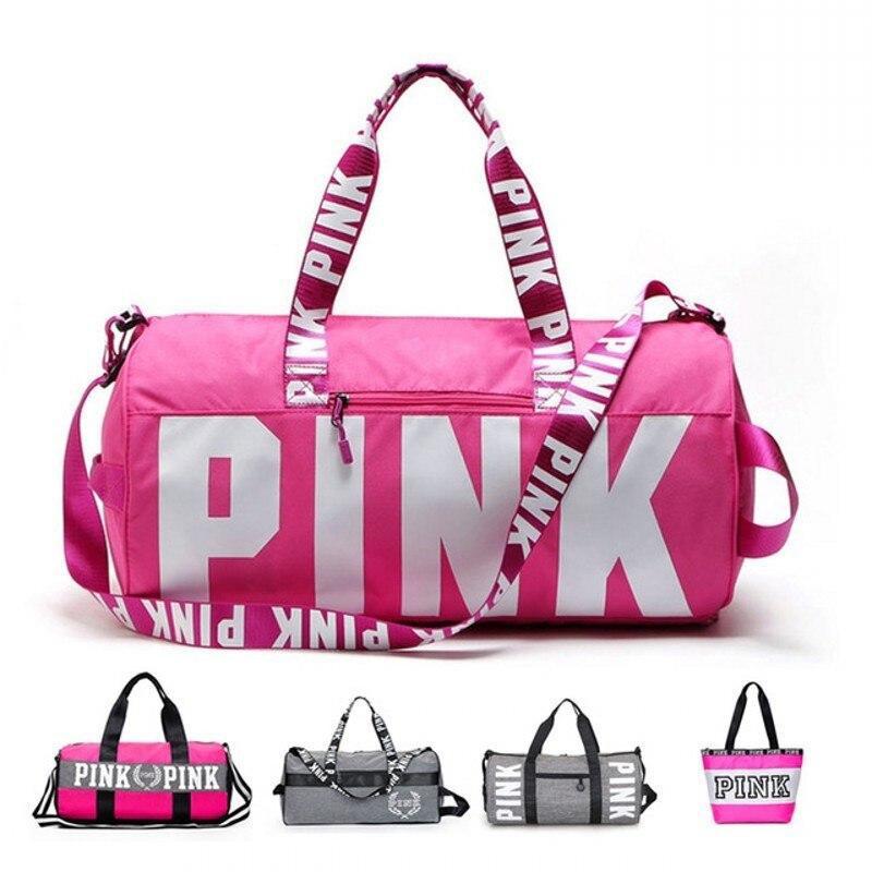 LOVE Ladies Luggage Travel Bag Pink Sequins Weekend Shoulder Bag Portable Large Capacity Waterproof Women Handbag Duffel Bag