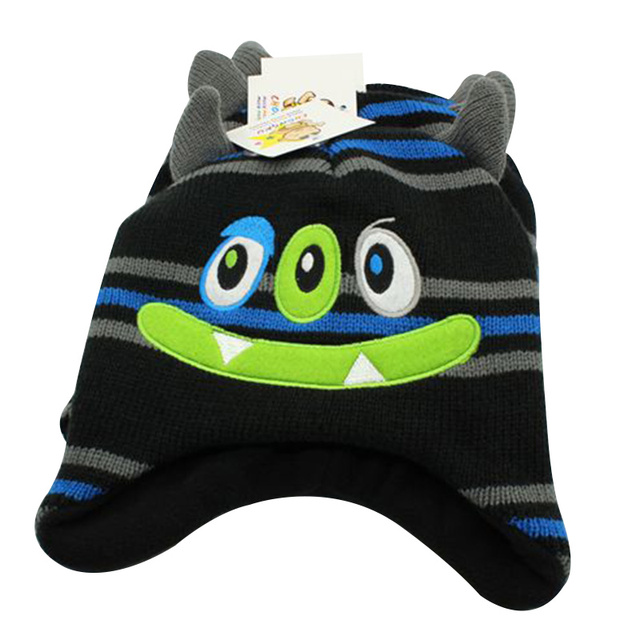 Fashion Monster Kids Hat Striped Embroidery Knitted Hat For Baby