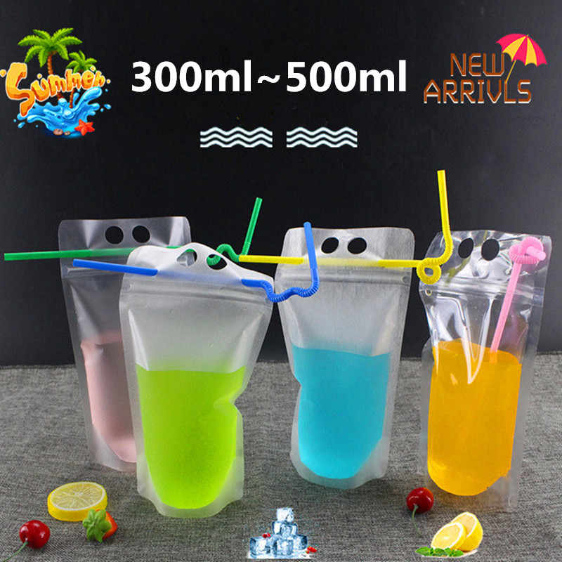 50pcs 300ml~500ml Blank Summer Portable Beverage Ziplock Bag Beer Milk Bar Fruit Juice Coffee Party Drinks Bag Support Printing
