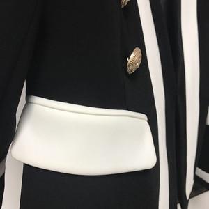 Image 4 - גבוה רחוב חדש אופנה 2020 מעצב בלייזר נשים של קלאסי שחור לבן צבע בלוק מתכת כפתורים בלייזר מעיל חיצוני ללבוש