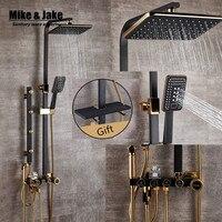 Bathroom Luxury black Golden shower set with bidet shower with shelf gold shower set bathroom Shower faucet Bathtub Faucet Sets