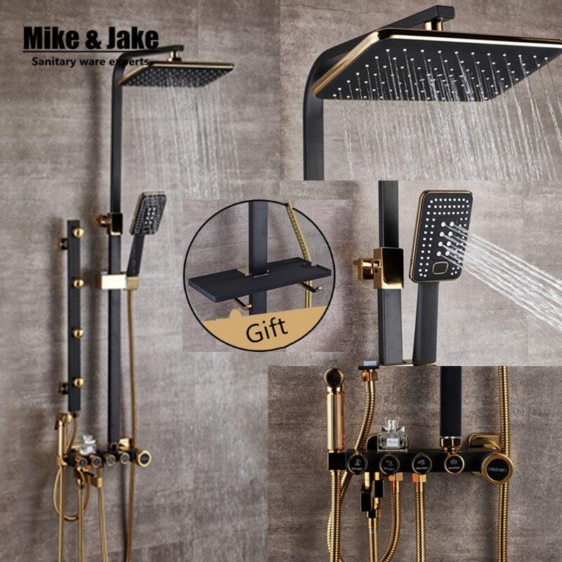 Salle de bains De Luxe noir D'or de douche ensemble avec bidet douche avec plateau or douche salle de bains robinet De Douche Baignoire Robinet Ensembles