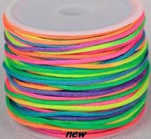 Noir blanc multicolore bracelet 1.5mm nylon 160M/15yards/lot chinois noeud bande de roulement cristal cordon corde corde gland collier(China)