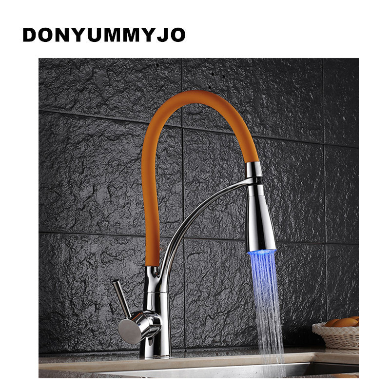 цена на DONYUMMYJO Black/Chrome Finish Kitchen Sink Faucet Deck Mount Pull Out Dual Sprayer Nozzle Hot Cold Mixer Water Taps Sink mixer