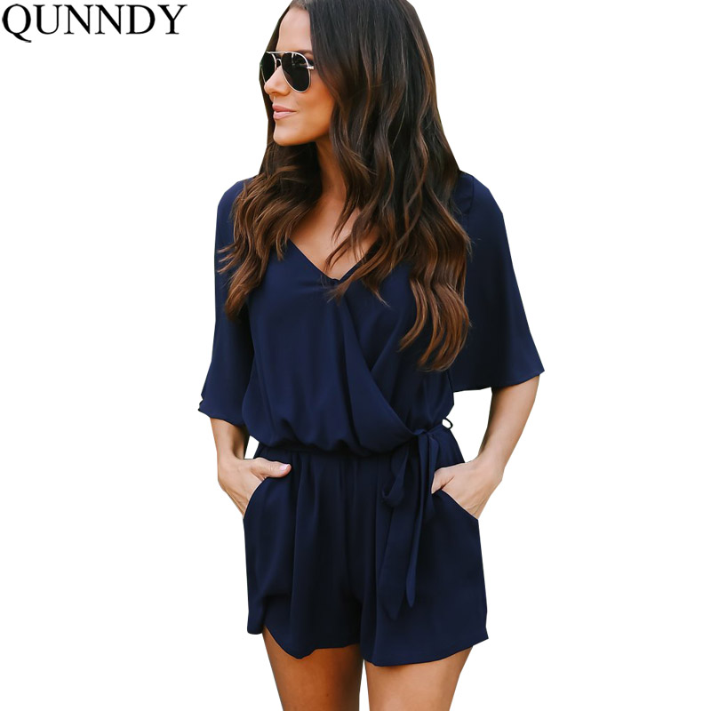 Qunndy Boho Red Solid Ruffles Playsuits Women Elegant Summer V Neck   Jumpsuits   Rompers Sexy Loose Beach Girls Short Overalls