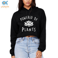 Harajuku Funny Vegan Crop Tops Power By Plants Crop Top 80s 90s 00s Tumblr Fashion Cropped