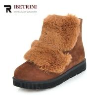 RIBETRINI Winter Fashion Comfortable Ankle Casual Snow Boots Faux Fur Zipper Platform Low Wedges Woman Shoes