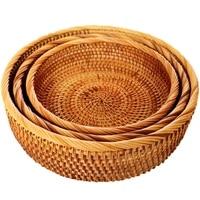 Hadewoven Round Rattan Fruit Basket Wicker Food Tray Weaving Storage Holder Dinning Room Bowl (3 Size Kit)