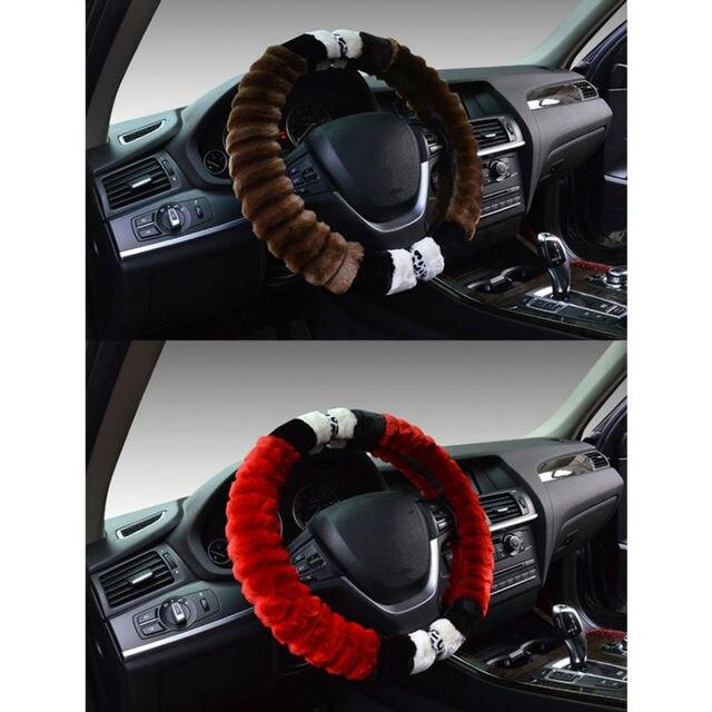 Universal Car Steering-Wheel Cover winter Warm Pattern plush steering wheel cover funda volante coprivolante stuurhoes