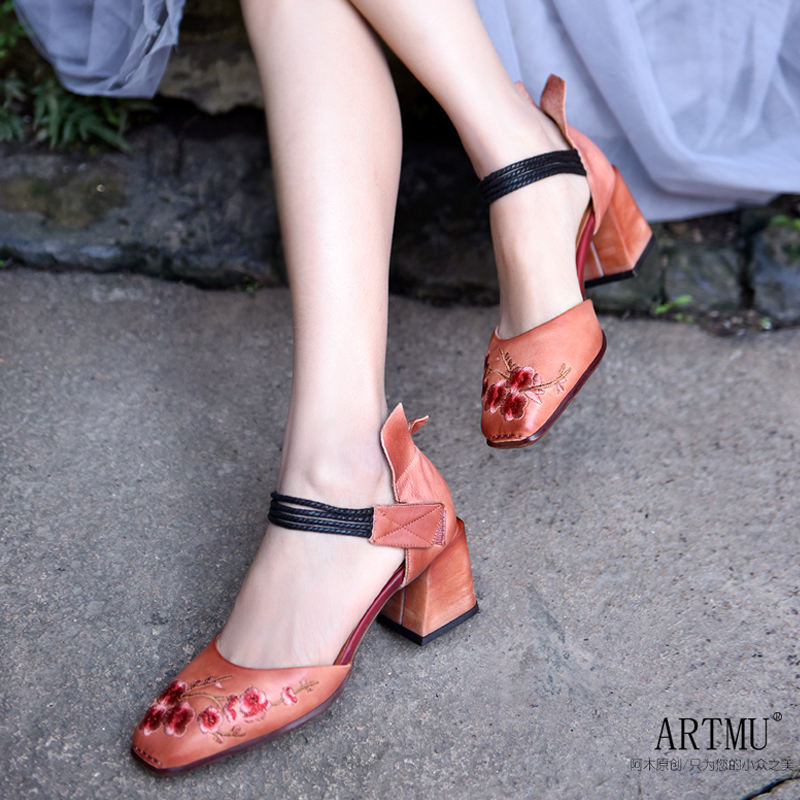 Artmu Fashion Women Sandals Thick Heels Vintage Chinese Style Flowers Shoes Genuine Leather 6 5 cm