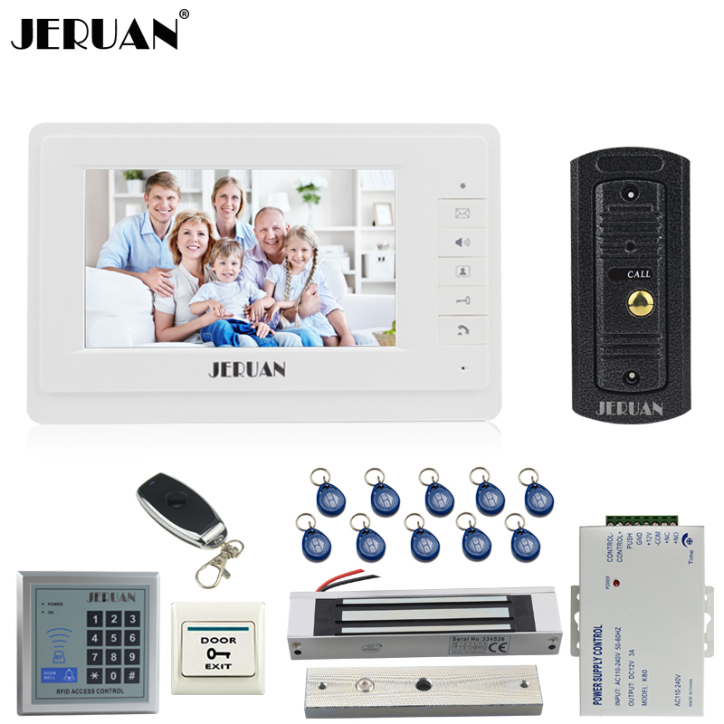 JERUAN 7 inch Video Door phone Intercom System kit 1 White Monitor Full Metal 700TVL IR Pinhole Camera RFID Access Controller jeruan home 7 video door phone intercom system kit 1 white monitor metal 700tvl ir pinhole camera rfid access control in stock