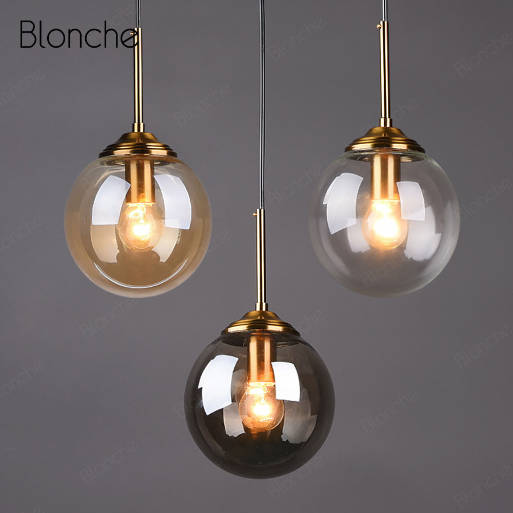 Nordic Glass Ball Pendant Lights Modern Gold Hang Lamp Home Loft Decor Light Fixtures for Cafe Dining Room Kitchen Bedroom Lamp