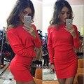 2016 осень и зима случайный с длинными рукавами платье сексуальный без бретелек форме крыла летучей мыши рукав пакет бедра платье женщин 4 цвет 4 размер