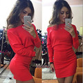 2016 autumn and winter casual long-sleeved dress sexy strapless batwing sleeve package hip dress women 4 color 4 size