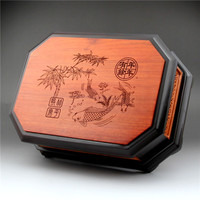 Redwood Chinese melon seeds snack dry fruit box Burmese pear black sandalwood inlaid fruit plate large size with cover grid