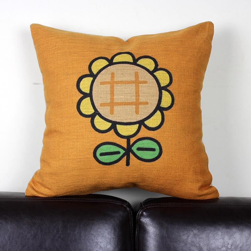 Sunflower pillow cover cute Japanese creative cartoon Animation Sunflower throw pillow cover pillowcase wholesale