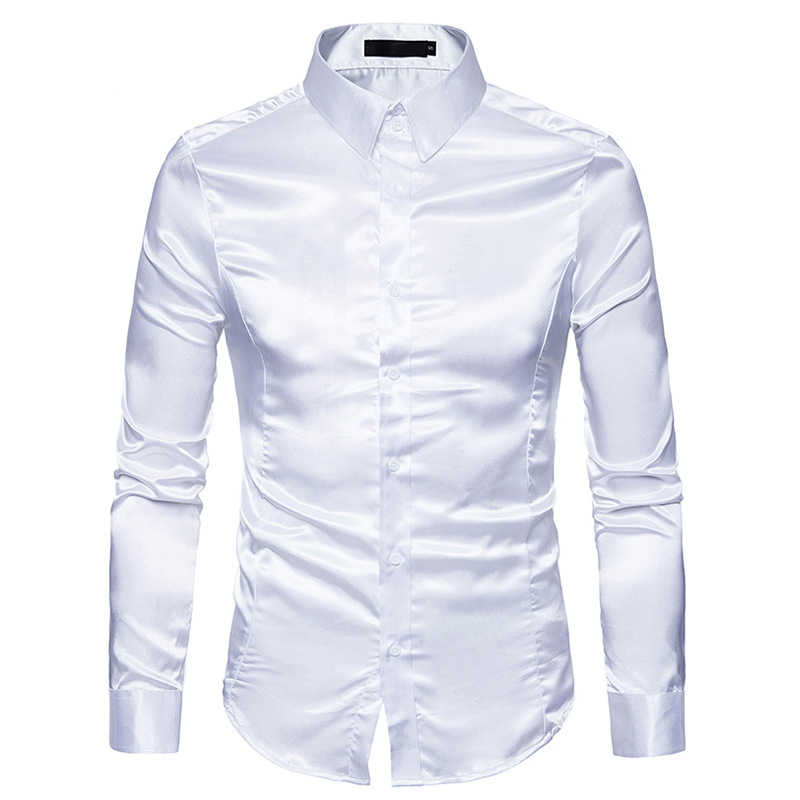 Mens White Silk Shirt 2018 Fashion Silk Satin Men Social Shirt Casual Slim Fit Long Sleeve Dress Shirts Male Camisa Masculina