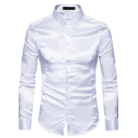 Mens White Silk Shirt 2018 Fashion Silk Satin Men Social Shirt Casual Slim Fit Long Sleeve Dress Shirts Male Camisa Masculina