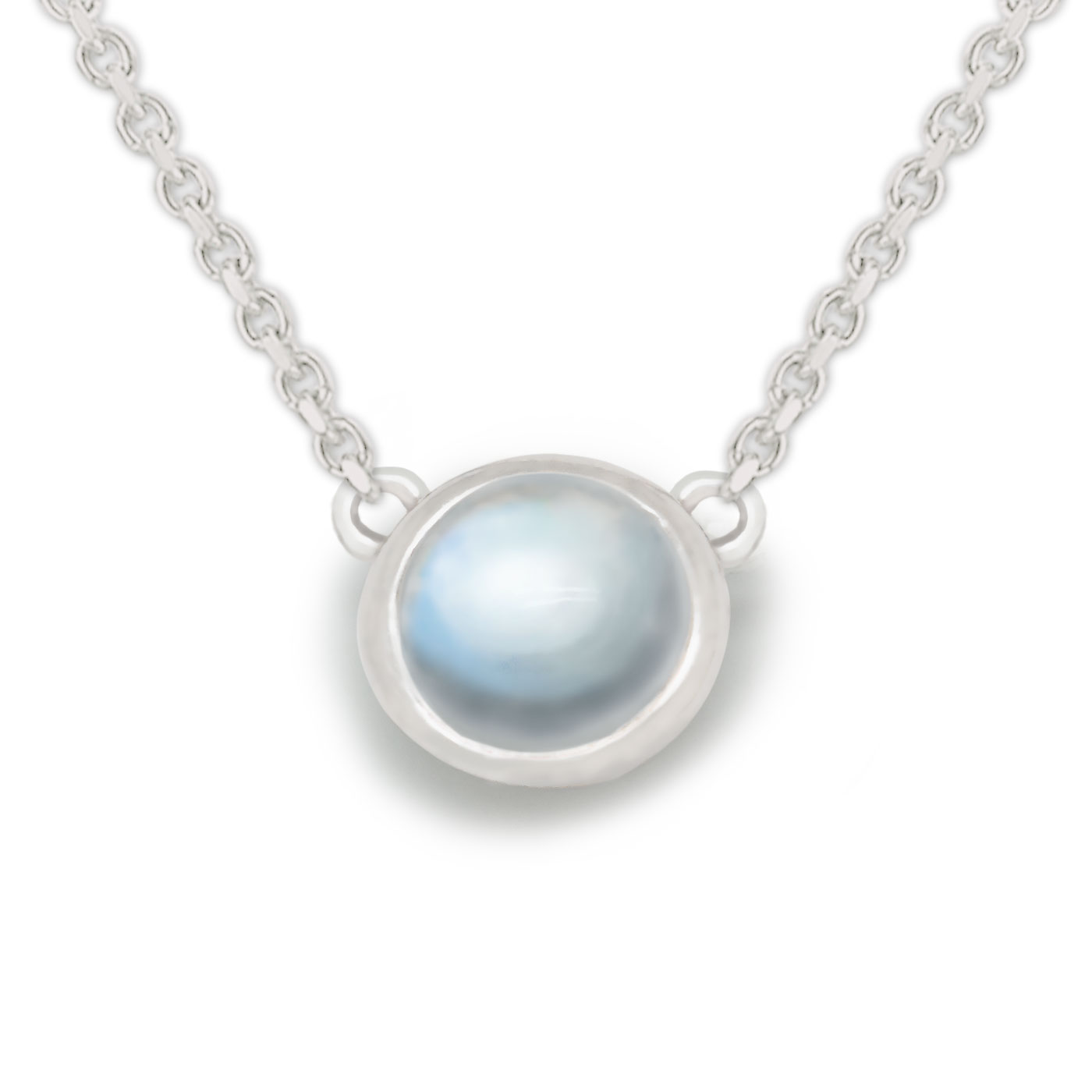 Concise Round 925 Sterling Silver Sri Lanka Genuine Moonstone Necklace цена