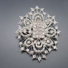 1 piece Rhodium Plated Clear Crystal Rhinestone Brooches Wedding Party Prom Bridesmaid Flower Brooch Jewelry Gift