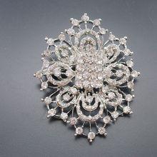 1 piece Rhodium Plated Clear Crystal Rhinestone Brooches Wedding Party Prom Bridesmaid Flower Brooch Jewelry Gift, BH7729