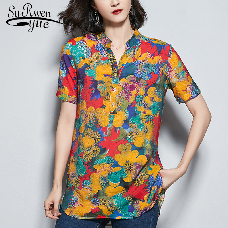 Fashion women   blouses   2019 summer plus size print chiffon   blouse     shirt   v collar office   blouse   women   shirts   female tops 2906 50