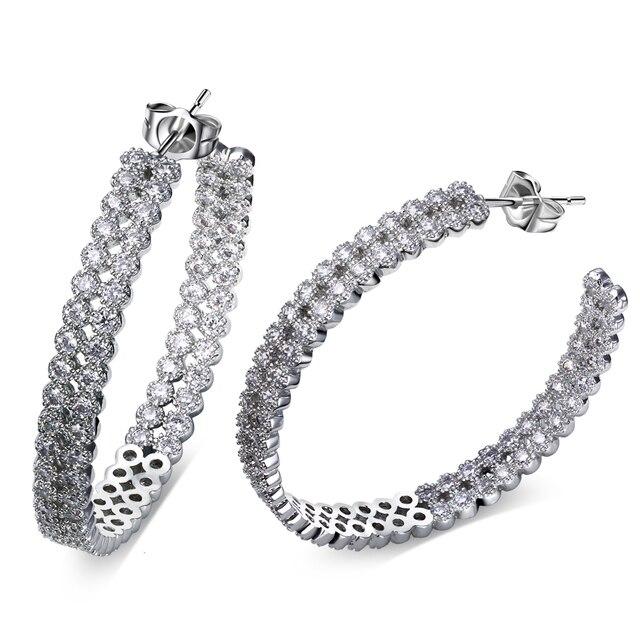 36 MM moda pendiente del aro pendientes cristal para mujeres rodio plateado con blanco CZ pendiente de la boda cuerpo jewerly envío libre