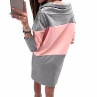 Autumn Winter Hoodies Dress Casual Turtleneck Warm Dresses Femme Spring Mini Women Plus Size Sweatshirts Dress