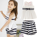 Summer Girl T-shirt + shorts. Fashion style lace chiffon sleeveless stripe