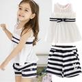 Summer Girl T-shirt + shorts. Fashion style lace chiffon sleeveless stripe
