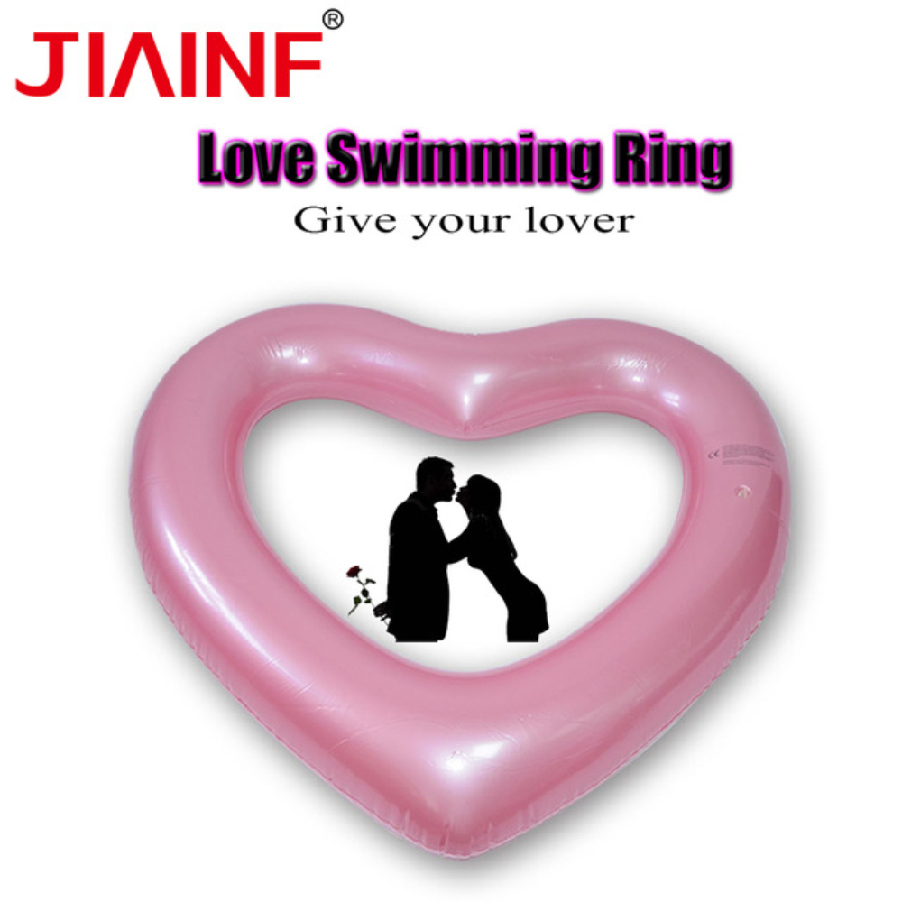 JIAINF Kids Children Swimming Circle Rose Gold Heart Shaped Swimming Pool Beach Inflatable Ring Pool Float Adults Summer Toys