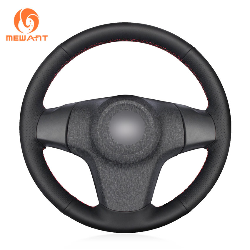 MEWANT Black Artificial Leather Car Steering Wheel Cover for Chevrolet Niva 2009-2017 (3-Spoke) mewant black suede genuine leather car steering wheel cover for chevrolet niva 2009 2017 3 spoke