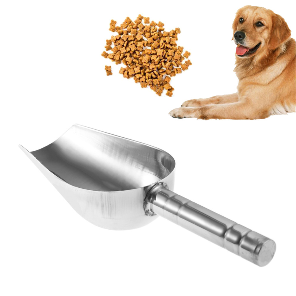 1PC Stainless Steel Pet Feed Food Supplies Dog Food Scoop Shovel Puppy Feeding Food Container Holder Pet Dog Feeding Accessories