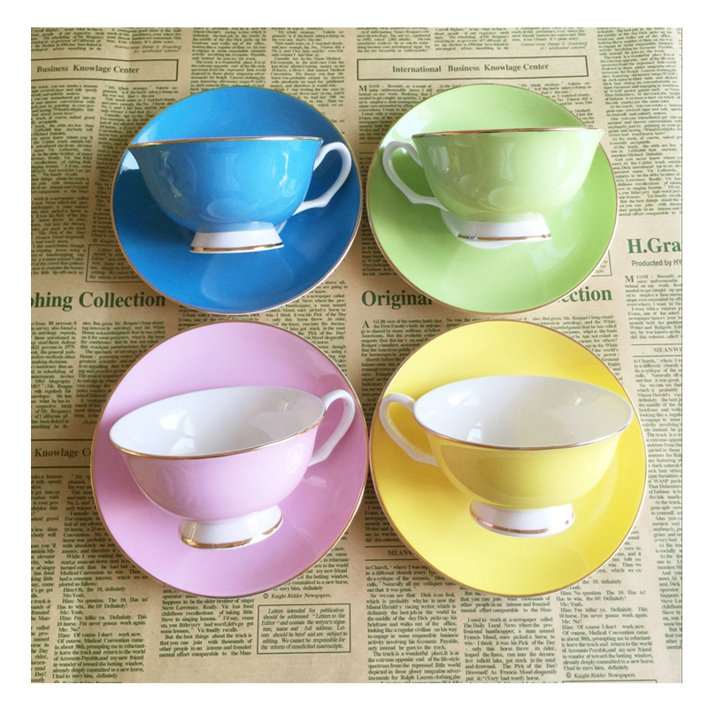 220ml Colorful Bone China Coffee Cup And Saucer Set