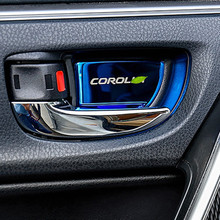 car interior door handle ornament for toyota camry 2012 2016 corolla 2014 2018 sticker stainless steel accessories car styling