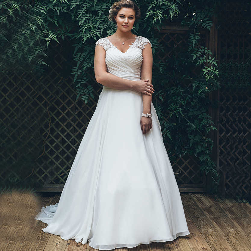 Elegant Plus Size Trouwjurken 2019 Chiffon Pleats Elegant Vestido de Novia Custom Made V-hals Kapmouwtjes Bridal Dress