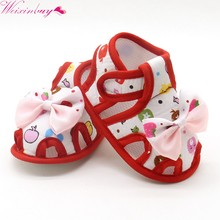 2017 Newborn Baby Sandal Cute Bow-knot Printed Princess Style Summer Lovely Breathable Sandal Prewalkers 0-18M(China)