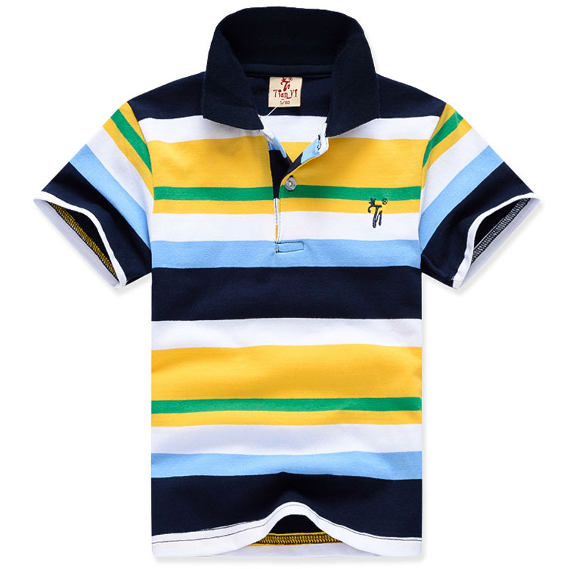 Boys Shirts Tops Stripe Kids Cotton Children Summer Fashion 2-11yrs High-Quality