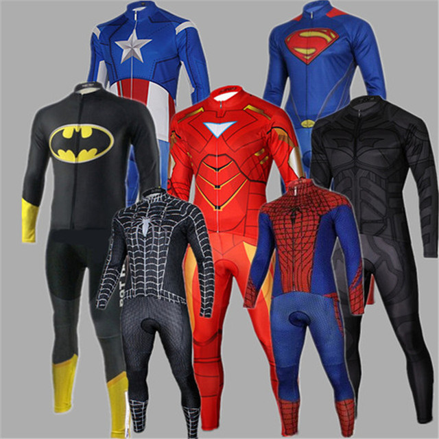 3eacf536a Captain America Superman Iron Spider Man Autumn Thin Cycling Set Long  Sleeves Jersey Bib Pants Kits Bike Bicycle Riding Clothes