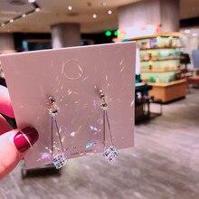 Womens fashion earrings jewelry simple geometric long section 925 beautiful crystal E546