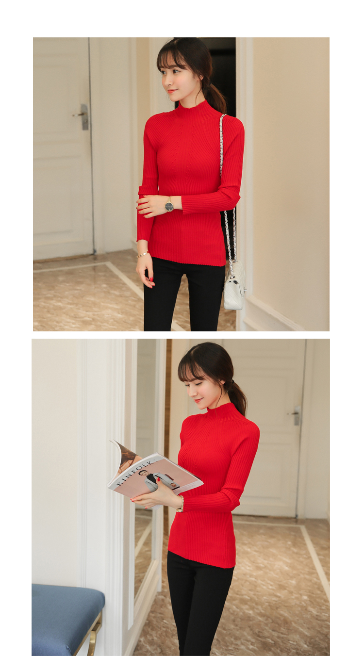 New 17 Spring Fashion Women sweater high elastic Solid Turtleneck sweater women slim sexy tight Bottoming Knitted Pullovers 23