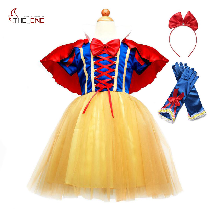 a69ae1ad275c8 US $9.48 30% OFF|MUABABY Snow White Dress for Girls Short Sleeve Summer  Princess Dress Up Clothes with Cape Children Party Fancy Cosplay Costume-in  ...