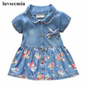 2017 Baby Girl Dress Infant Girls Dress Summer Floral Print Child Clothes Denim Princess 1 Years Birthday Kids Dresses JW1366