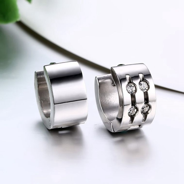 2017 New Hot Fashion Jewelry male 18 k White Gold Plated Classic Stainless Steel Earrings Gift for men EH-097