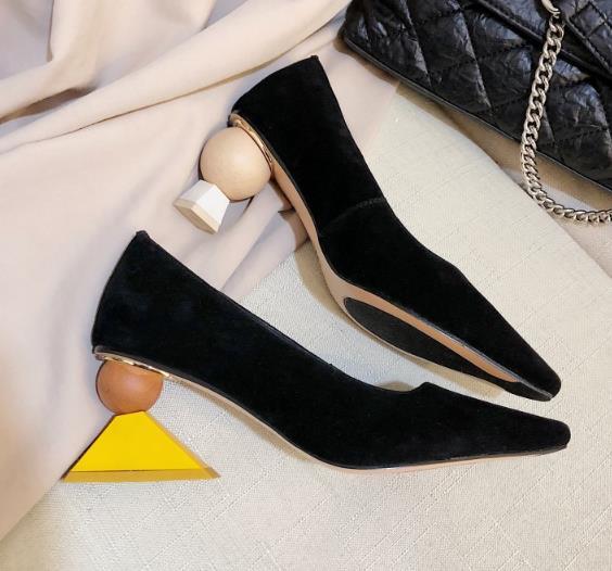 Étrange Mode Glissent Femme kaki Soirée Faible Sur Bout Pompes Talons De Chaussures Pointu Stilettos Printemps Dames Personnalisé Dans Noir xrrRIp