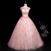 It's YiiYa Pink Floor length Wedding Dresses Appliques Beading O neck Sleeveless Brides Gowns Vestidos BL081 De Novia Casamento